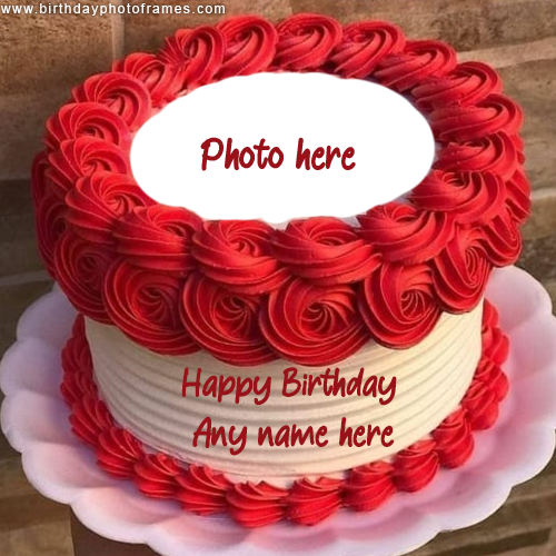 Happy Birthday Red Rose Round Cake With Name And Photo Edit