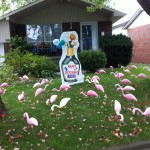 Champagne Bottle Lawn Sign with Pink Flamingos Lawn Ornaments
