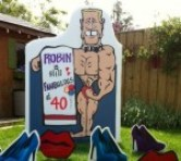 Muscle Man Lawn Sign with Stiletto Shoes and Lips Lawn Ornaments
