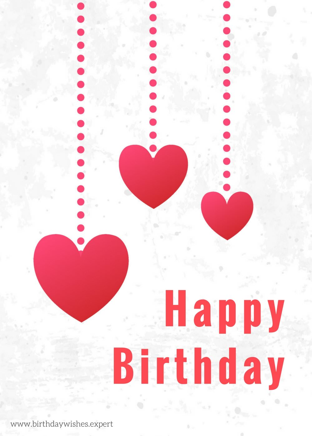Happy Birthday Wish For My Wife On Image With Hearts On White Background