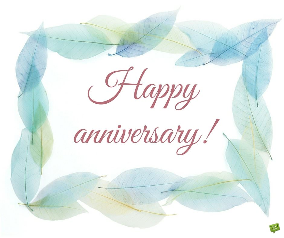 Happy Anniversary With Pastel Leaves Border