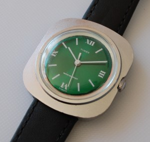 1971 Timex greendial square cased watch