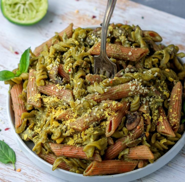 Roasted Italian Brussels with rocket and pistachio pesto
