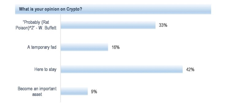 JPMorgan poll: 49% of investors agree that cryptocurrency is