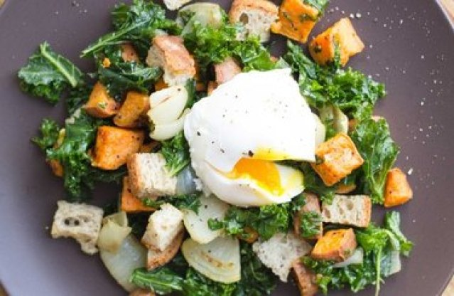 Winter Panzanella breakfast salad with poached egg and croutons