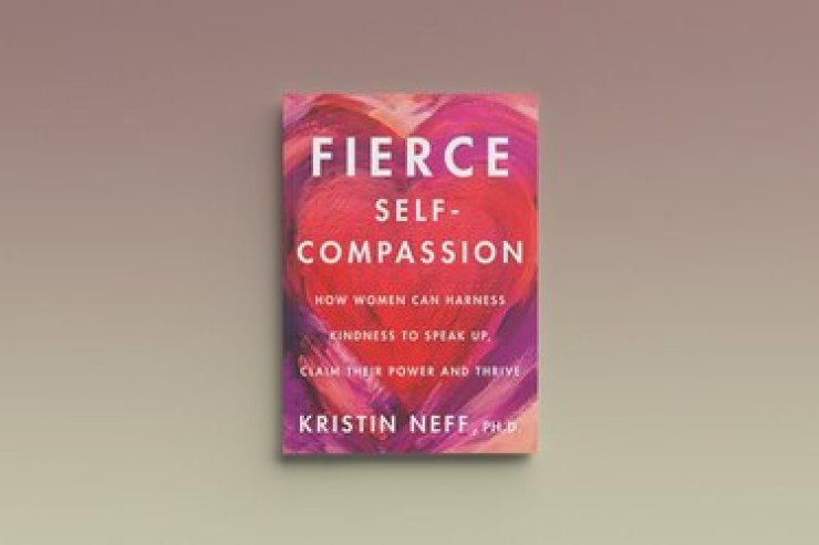 Violent self-compassion from Kristin Neff, against a gray background
