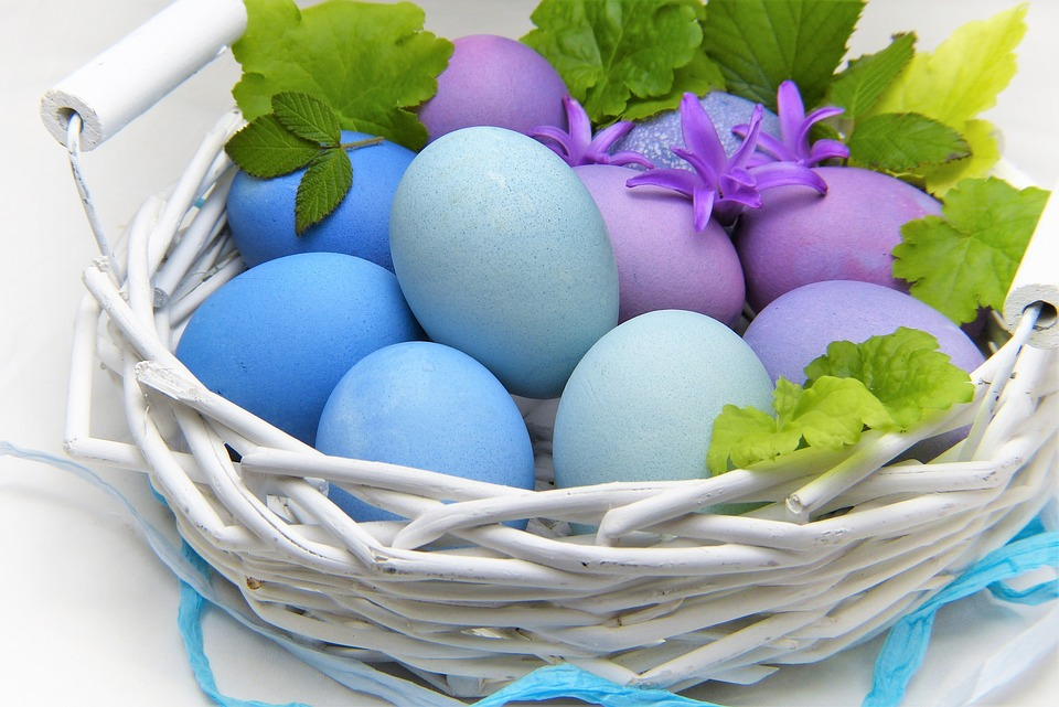 pastel easter eggs in basket