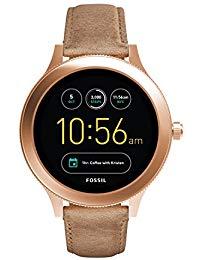 Fossil Women's Gen 3 Venture Stainless Steel Touchscreen Watch with Leather Strap, Beige: ((Model: FTW6005))