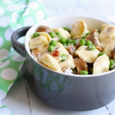 Creamy Goat Cheese Tortellini with Chicken Sausage - a 5 Ingredient Meal!