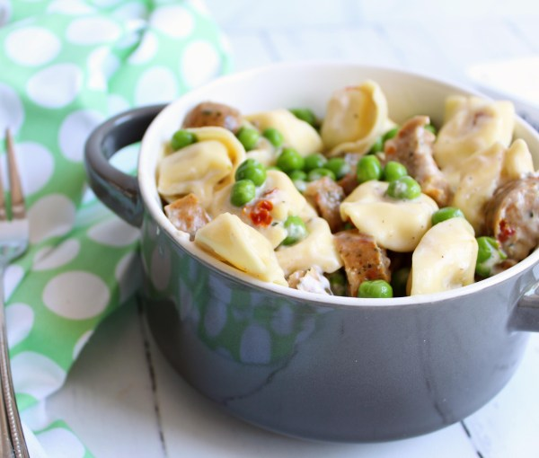 Creamy Goat Cheese Tortellini with Chicken Sausage – a 5 Ingredient Meal!