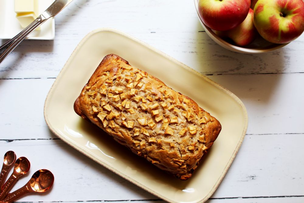 flatlay of apple cinnamon cram cheese bread 1