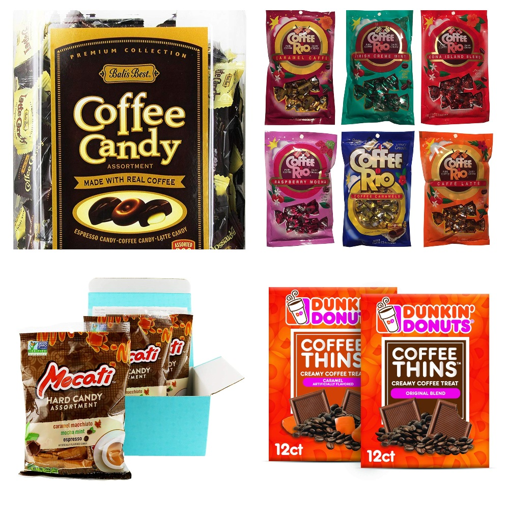 Collage of Candy for Coffee Lovers Gift Guide