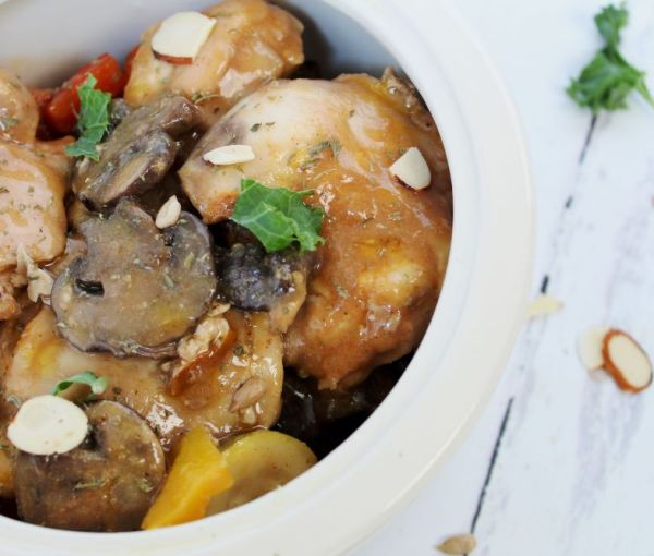 Slow Cooker Chicken with Balsamic Mustard Sauce