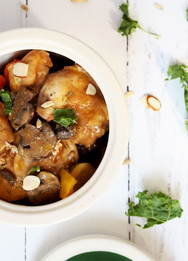 slow cooker chicken with balsamic mustard sauce flatlay 1