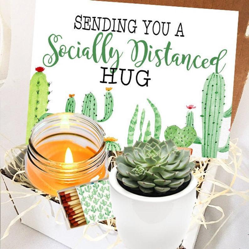 socially distanced hug gift box etsy