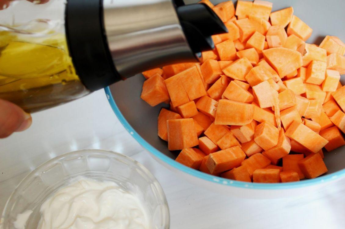 oil on roasted sweet potatoes 1