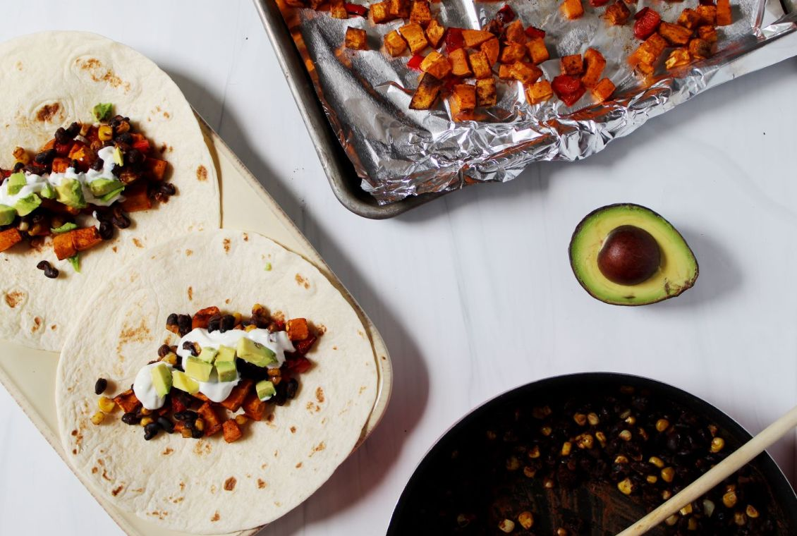 sweet potato tacos with black beans and avocado 1