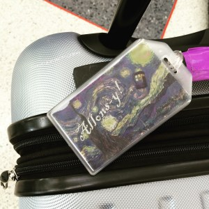 New luggage tags... ready to travel through all of time and space; everywhere and anywhere.