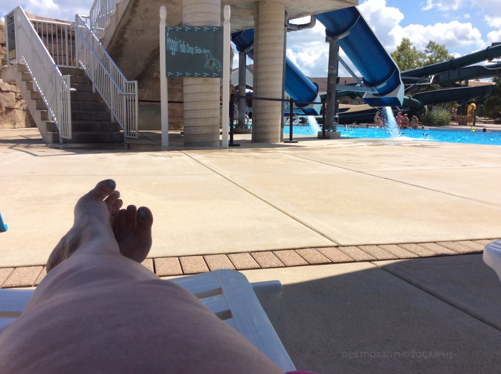 Lounging poolside in a surprisingly up crowded pool for the last forecasted sunny day of summer vacation.