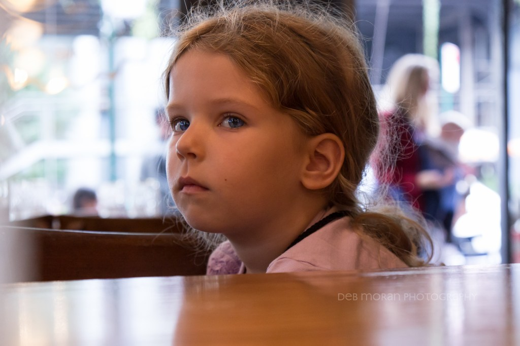 This is Olivia, my friend Jodi's daughter. We were sitting at our table after lunch at Bubby's, and I had to snap a candid. How adorable is she?!