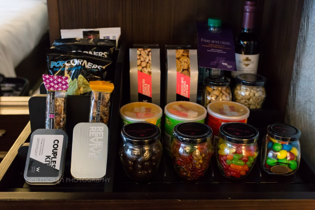 What a fun mini bar. I had none of it, but I could see The Girl really tucking in for some of that. $12 Gummy Bears? Sure, why not?!