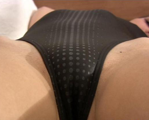 Black Lycra One Piece Swimsuit Pussy Shot