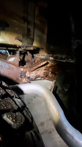The previous builders not only hid a variety of mechanical issues, but also managed to use expanding foam to fill in the rear cross-member.