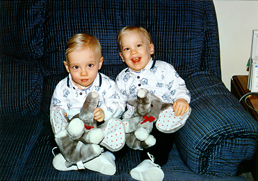 Aaron and Eric Bissell are identical twins whose very different disabilities stem from medical complications associated with their premature birth.  Aaron (left) has bronchopulmonary dysplasia and a tracheostomy; he is now oxygen-dependent only while sleeping.  Eric (right) has spastic quadriplegia cerebral palsy.