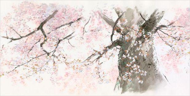 Paisaje de 'La princesa Kaguya'