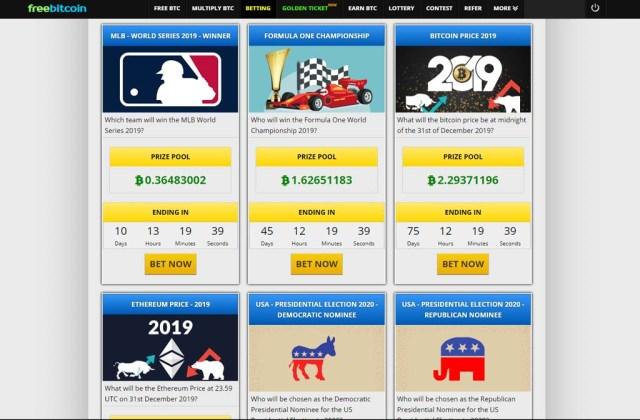 Freebitco.in bettings you can big prize pool in bitcoin.