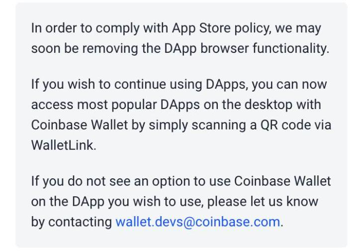 Coinbase Wallet Removing Mobile Dapp Browser to Comply With Apple