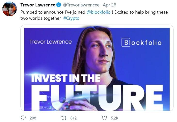 No. 1 NFL Draft Pick Trevor Lawrence Puts His Signing Bonus in Cryptocurrencies, Estimated Worth $24 Million