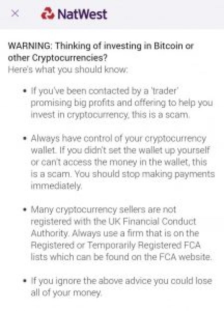 Major British Bank Natwest Alerts Customers With Tips to Avoid Cryptocurrency Scams