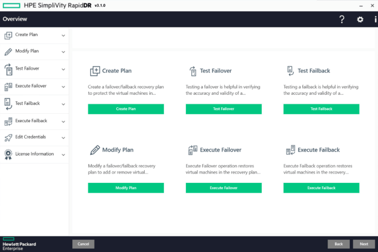 HPE Simplivity RapidDR 3.1 dashboard