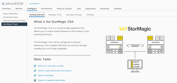 The StorMagic vCenter plugin - get started page on HPE Edgeline