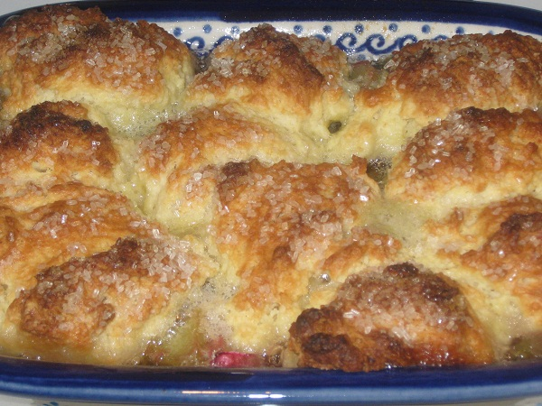 Rhubarb Cobbler and Apple Blossoms