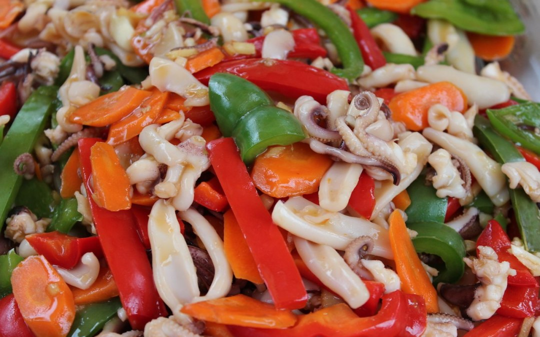 Baby octopus and squid stir fry recipe