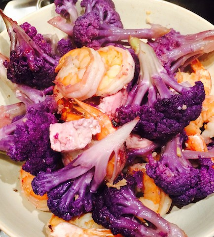 Purple cauliflower with shrimp and tofu