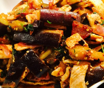 Stir fried eggplant with pork