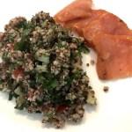 Quinoa cilantro tabbouleh with smoked salmon