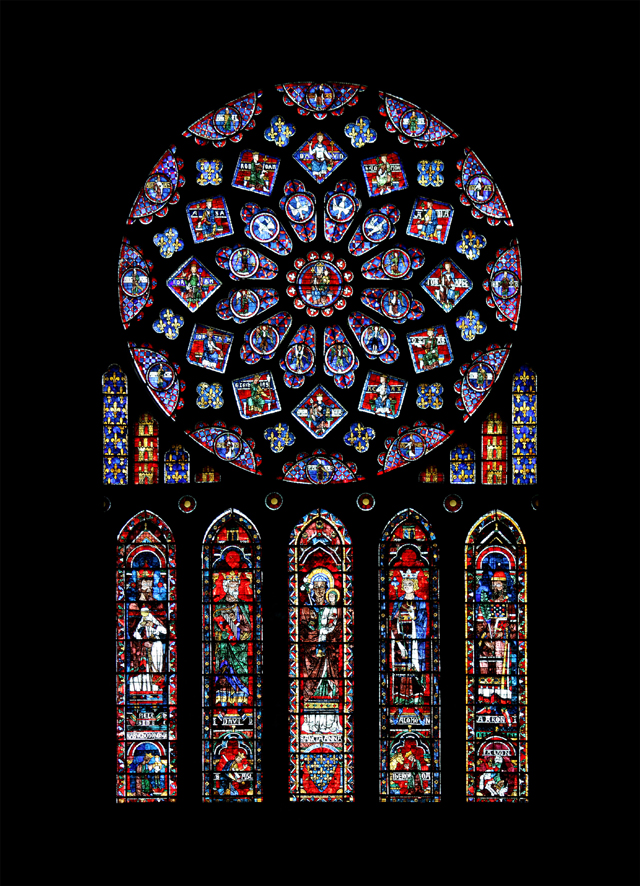 Northern rose window of the cathedral Notre-Dame in Chartres, France