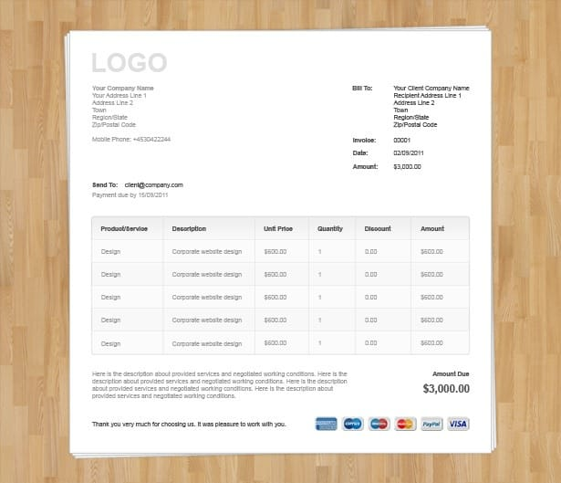 invoice template html. free free online. github nextstepwebs, Invoice examples