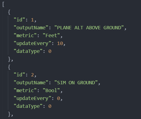 JSON of outputs