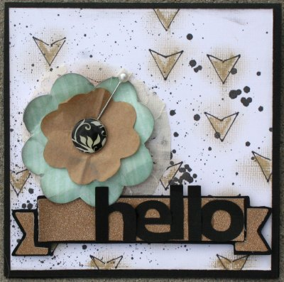Make your own stencils. trendy gold arrows card with Gelatos.