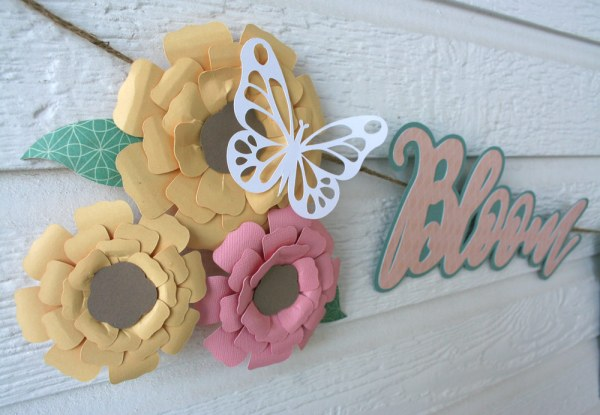Spring Banner with paper flowers cut files