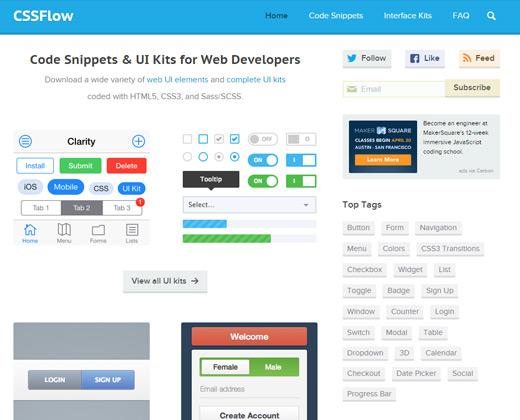 css flow homepage ui design