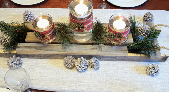 Christmas Tablescape - DIY Vintage Sled