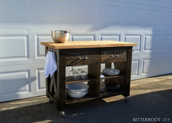 DIY Rustic X Kitchen Island