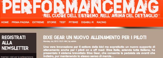 BiXe GEAR in prima pagina su performance magazine di luglio.