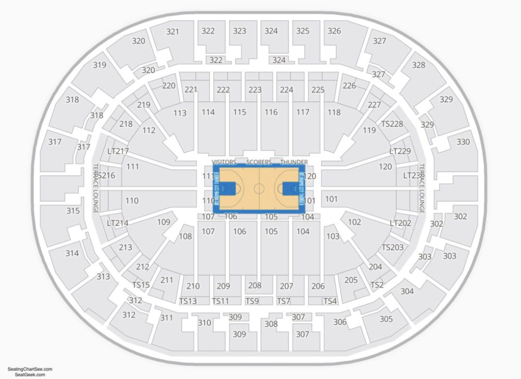 Okc Thunder Chesapeake Arena Seating Chart Wallseatco